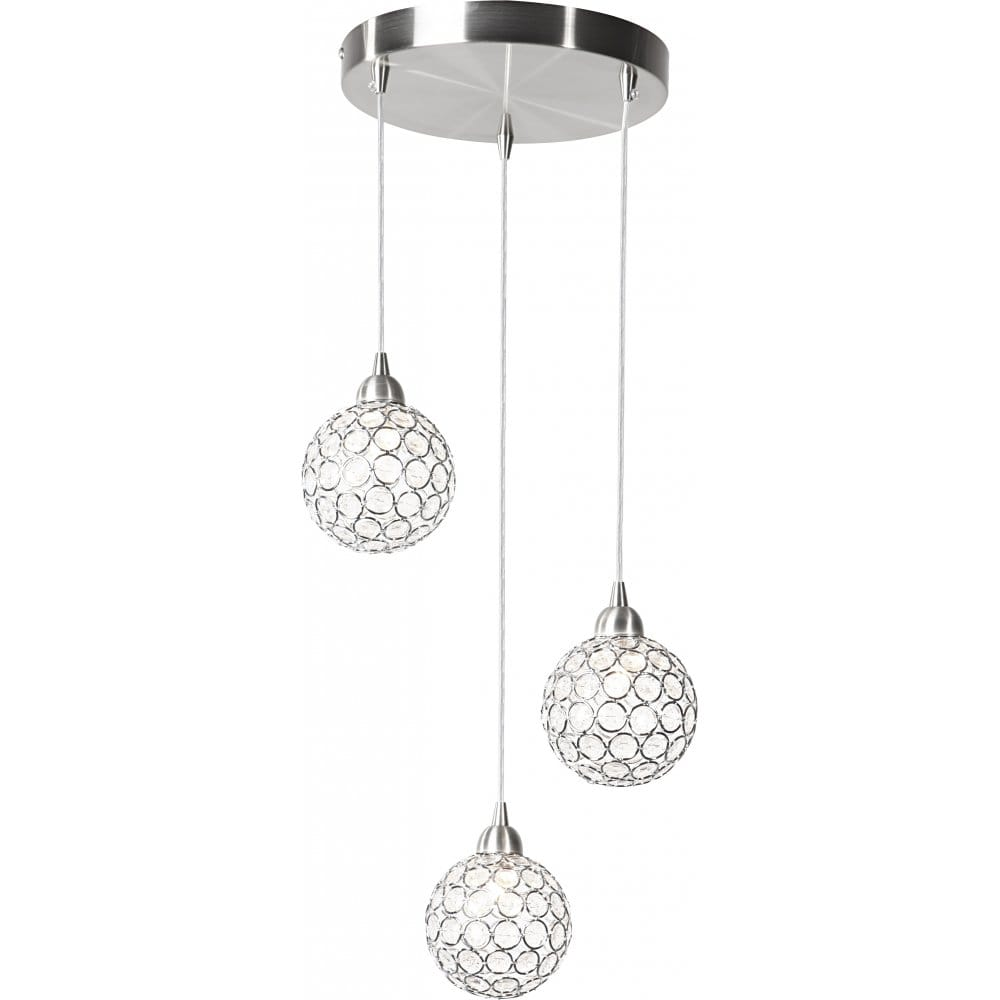 Matt Nickel Ceiling Cluster Pendant 3 Lights Dimmable