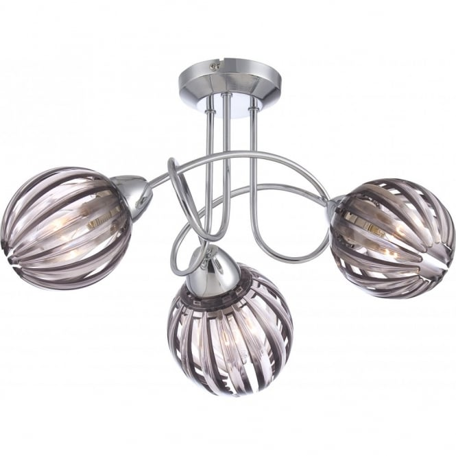 Glo Lighting CAJETAN chrome spiral light with faded lavender acrylic shade, 3lt