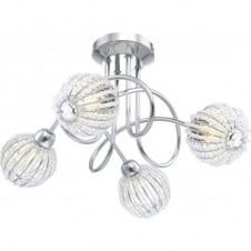 DEGRAY chrome spiral 4 light with acrylic crystal globe shades