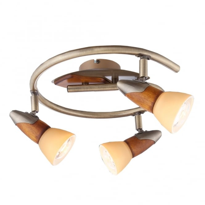 Glo Lighting LORD III wood and antique brass 3 light ceiling light