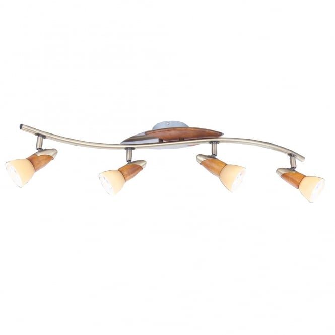 Glo Lighting LORD III wood and antique brass 4 light ceiling spot light bar