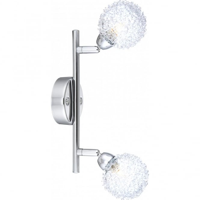 Glo Lighting ORINA double chrome wall light with glass net globe shades