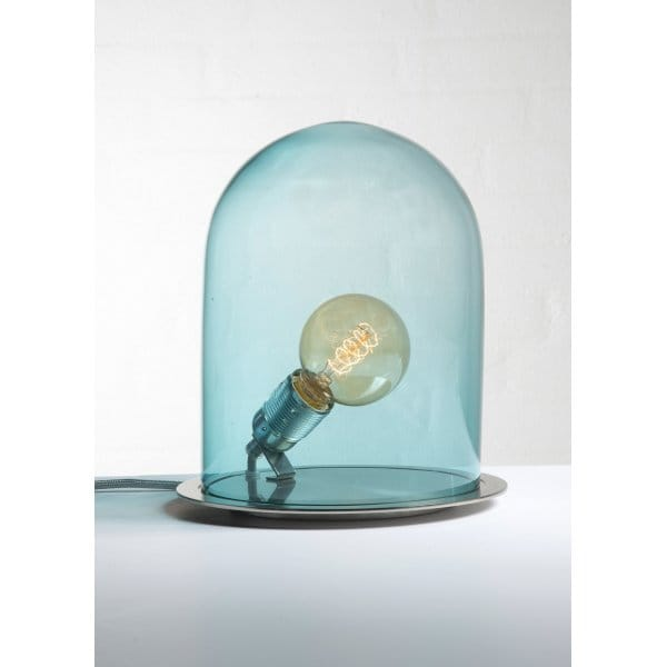 Unusual Table Lamp With Bulb In Blue Dome Shaped Glass Shade