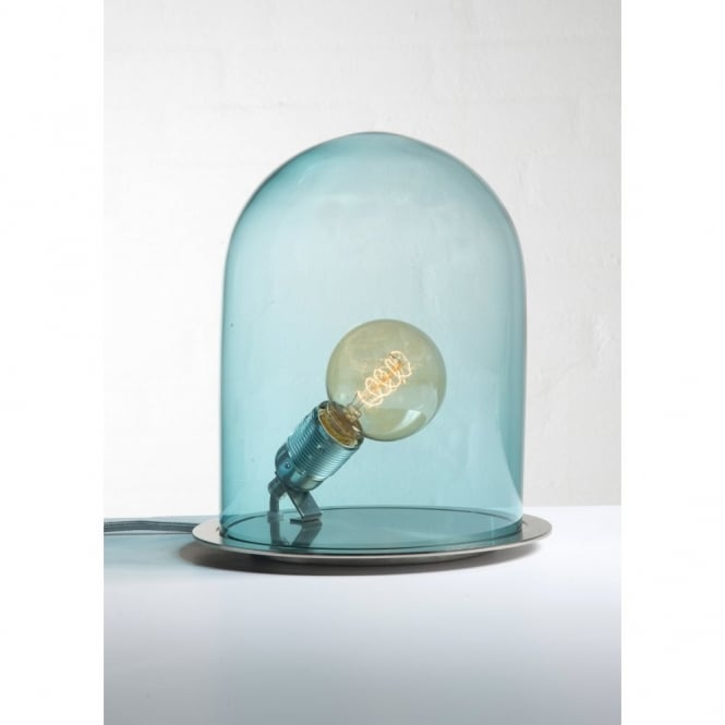 GLOW In A DOME Deep Blue Glass Table Lamp (small)