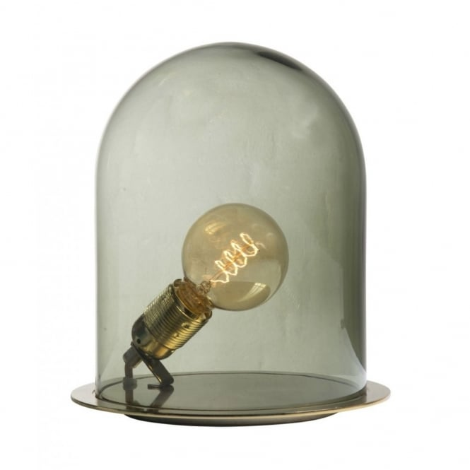 Unusual table lamp with bulb in green dome shaped glass shade glow in a dome olive glass table lamp small aloadofball Choice Image