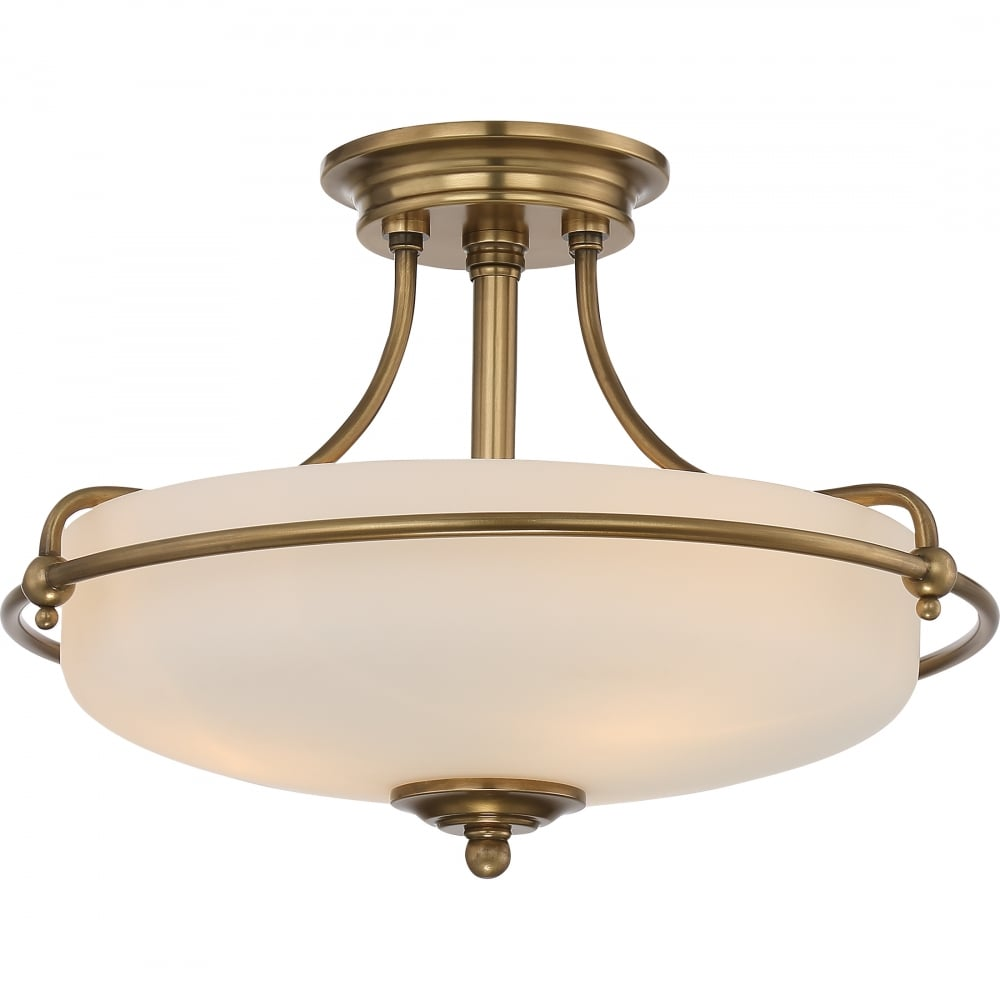 Weathered brass semi flush ceiling light with opal glass mozeypictures Choice Image