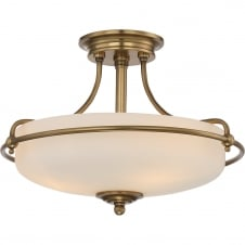 weathered brass semi flush ceiling light with opal glass