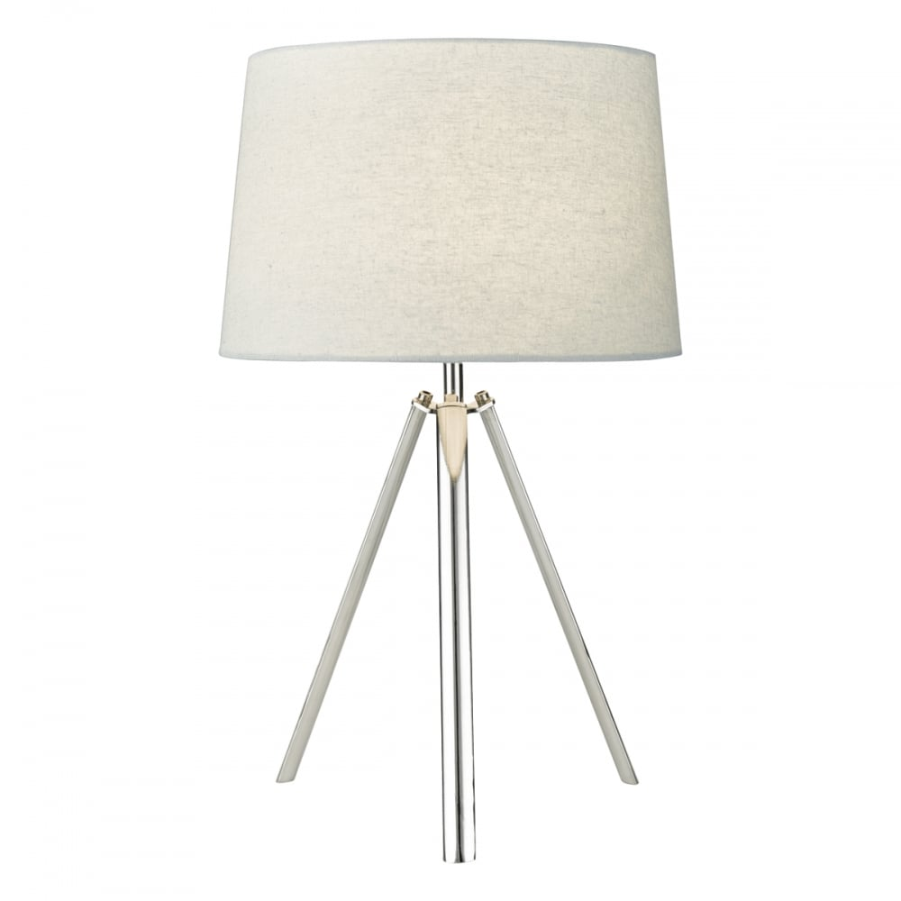 Contemporary chrome tripod table lamp with shade lighting company chrome tripod table lamp with grey shade aloadofball Image collections