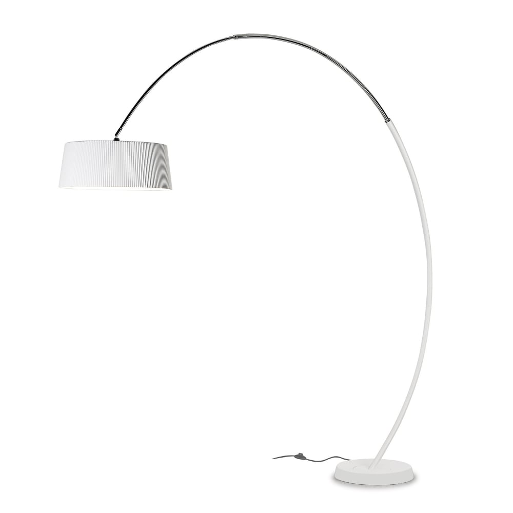 contemporary over hanging floor lamp in matte white - HOOP Large Curved Floor Lamp In A Matte White Finish With Shade