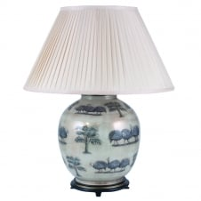 GUINEA Fowl On Dist On Large Round with Silk Knife Pleat Balloon Lined Almond Shade 50cm