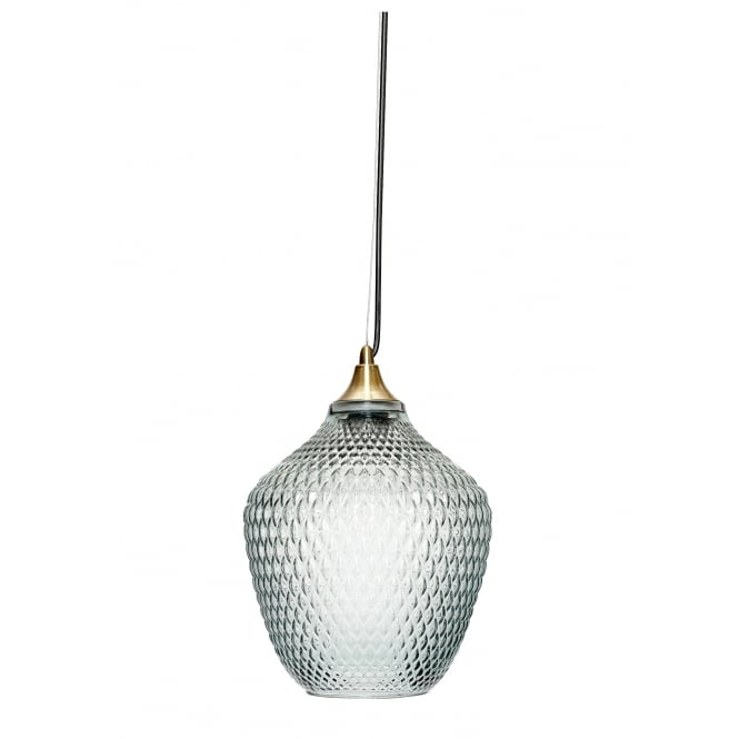 Hübsch Home BLUE textured glass ceiling pendant with brass suspension