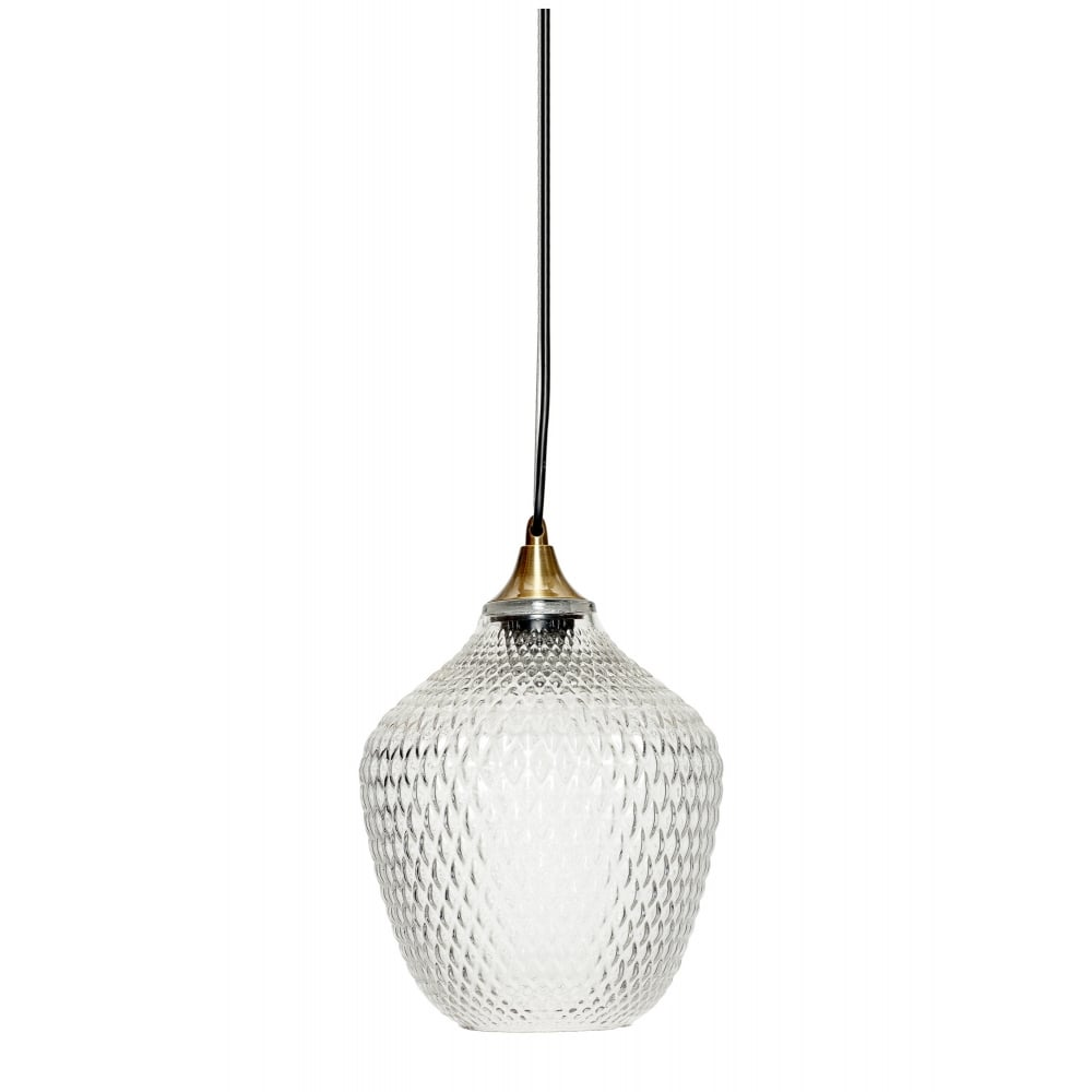Fabulous Textured Clear Glass Pendant With Brass Suspension Ip44