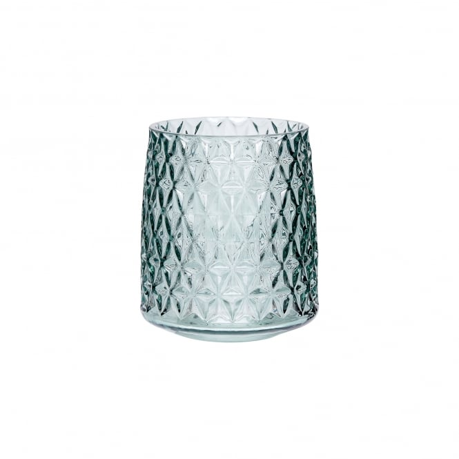 VOTIVE small green glass vase with pattern