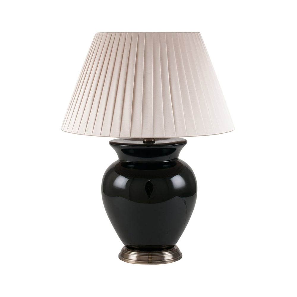 Black Ceramic Table Lamp With Pleated Shade