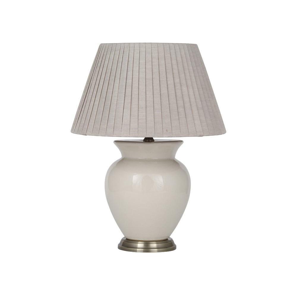 Traditional Ceramic Table Lamp With Natural Cream Finish And Shade