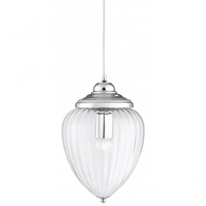 Hall Hanging Lantern In Chrome Finsih With Clear Ribbed Glass Shade