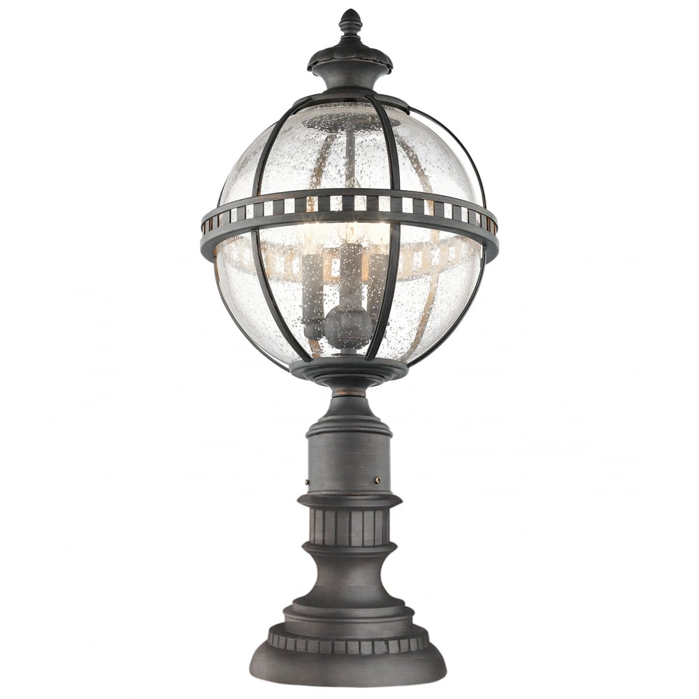Victorian globe style exterior pedestal lantern in londonderry finish for Victorian style exterior lighting