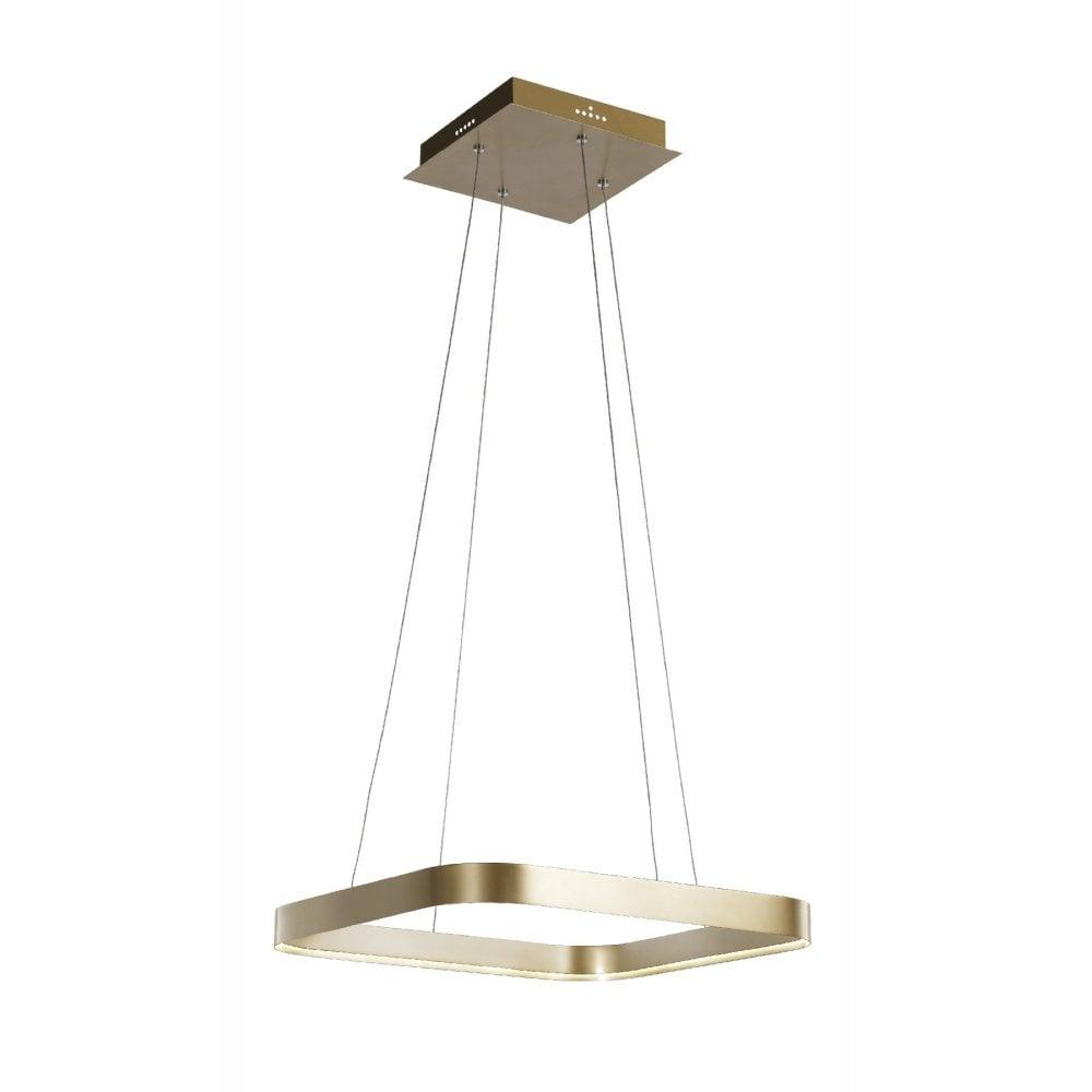 Squared Led Ceiling Pendant Light In Matte Gold Finish