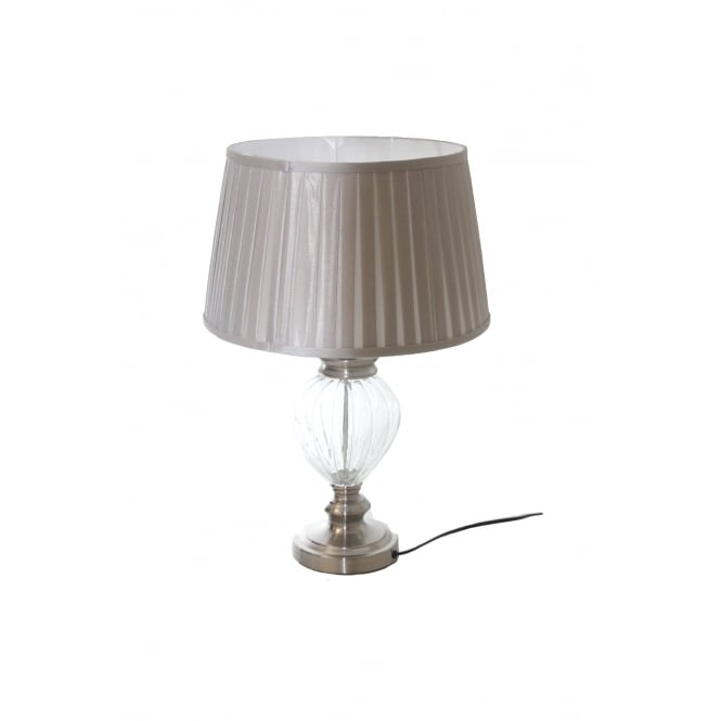 Glass And Silver Grey Metal Table Lamp With Shade