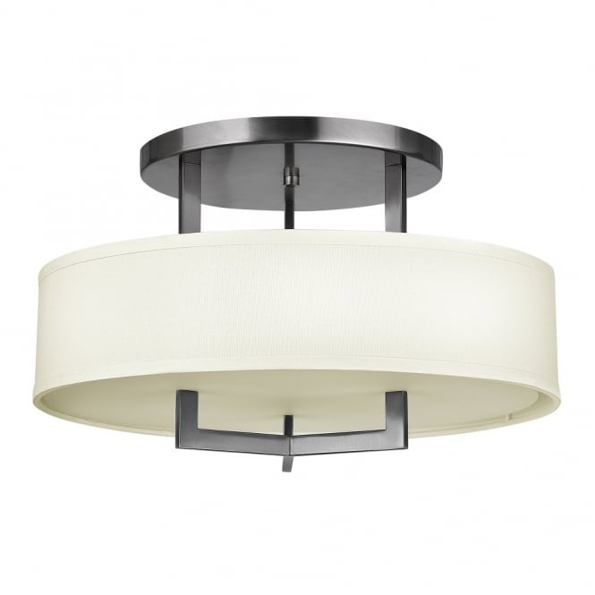 Contemporary semi flush ceiling light in brushed nickel with surround shade