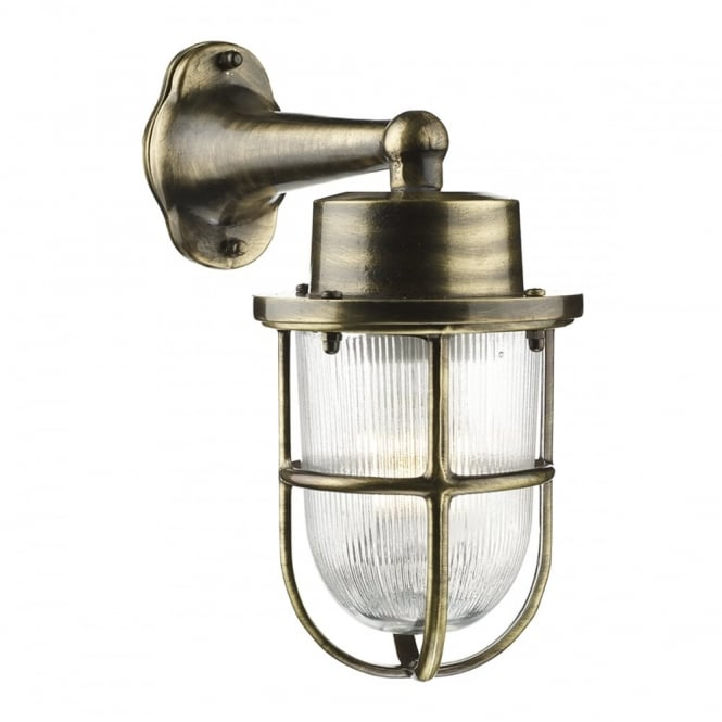 Coastal style industrial exterior wall light in antique brass coastal style outdoor wall light in antique brass aloadofball Choice Image