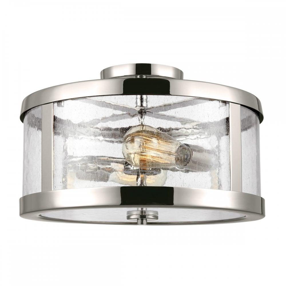 Modern Industrial Flush Ceiling Light In Nickel Clear Glass
