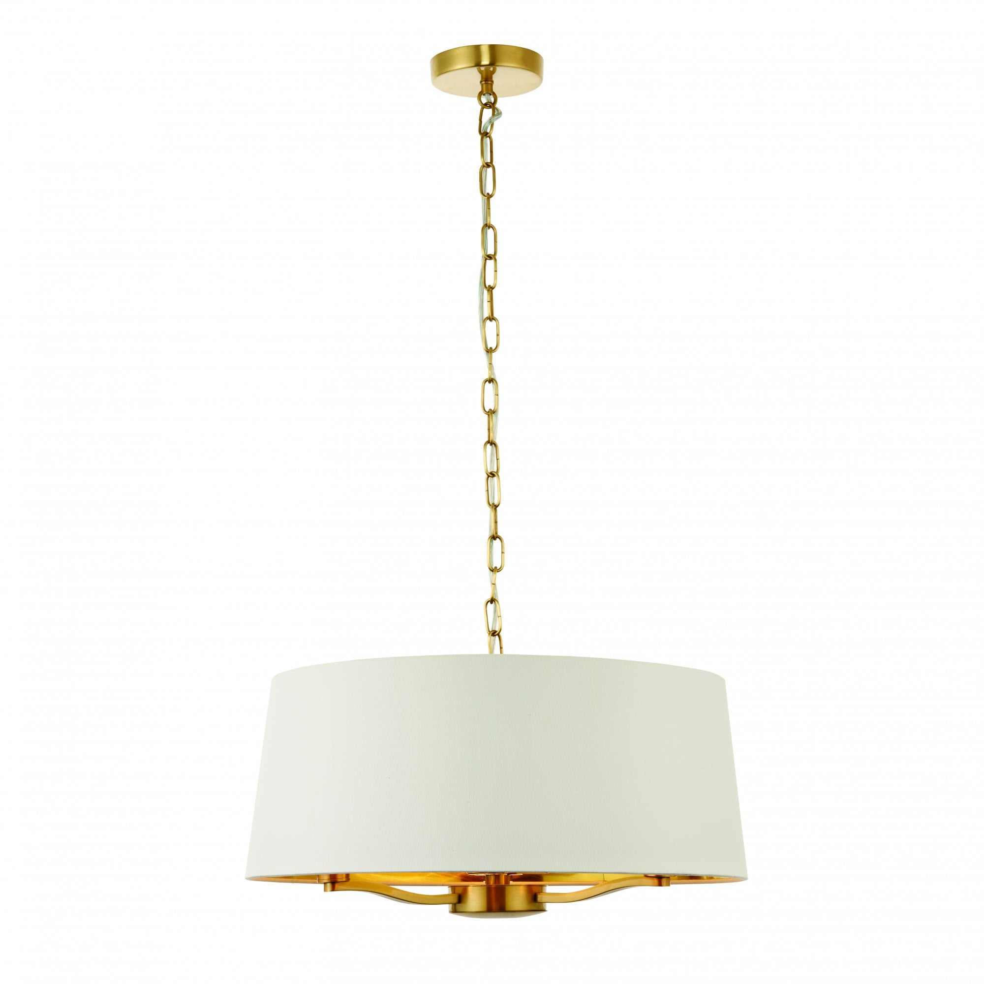 Satin Gold 3 Light Pendant With White Shade Surround Lighting Company