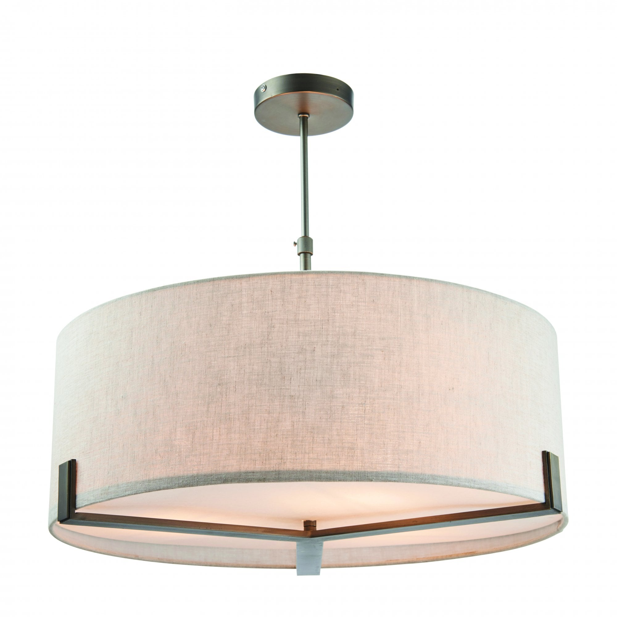 Brushed Bronze Effect 3 Light Ceiling Pendant With Natural Linen Shade