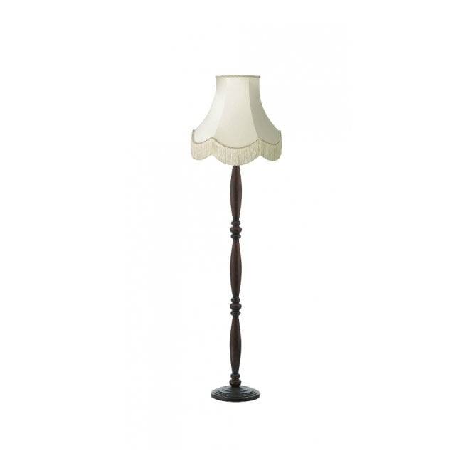 Traditional Wooden Floor Lamp With Luxury Shade Double Insulated