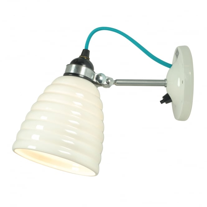 HECTOR BIBENDUM ripple effect bone china wall light with turquoise cable (switched)