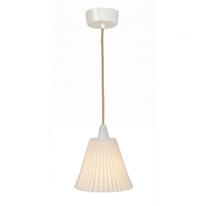 HECTOR large pleat effect natural white bone china pendant