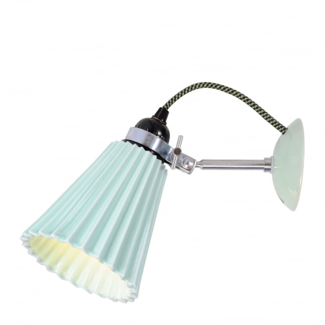 HECTOR pleated bone china wall light in light green