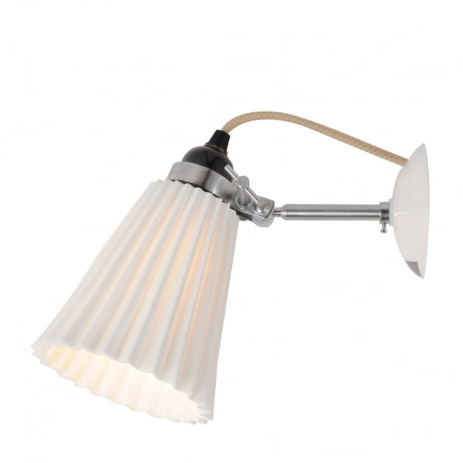 HECTOR pleated bone china wall light in natural white