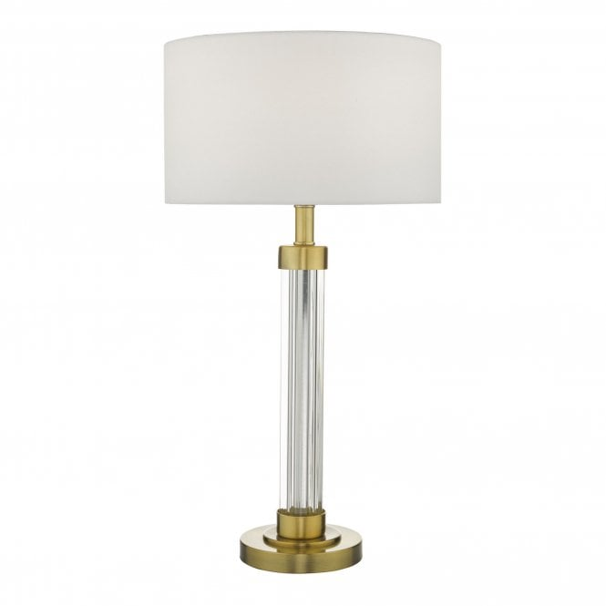 Modern Ribbed Glass And Bronze Table Lamp Base
