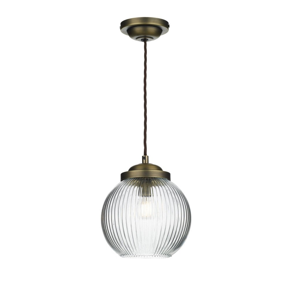 Antique Brass Ceiling Pendant With Ribbed Glass Globe Shade