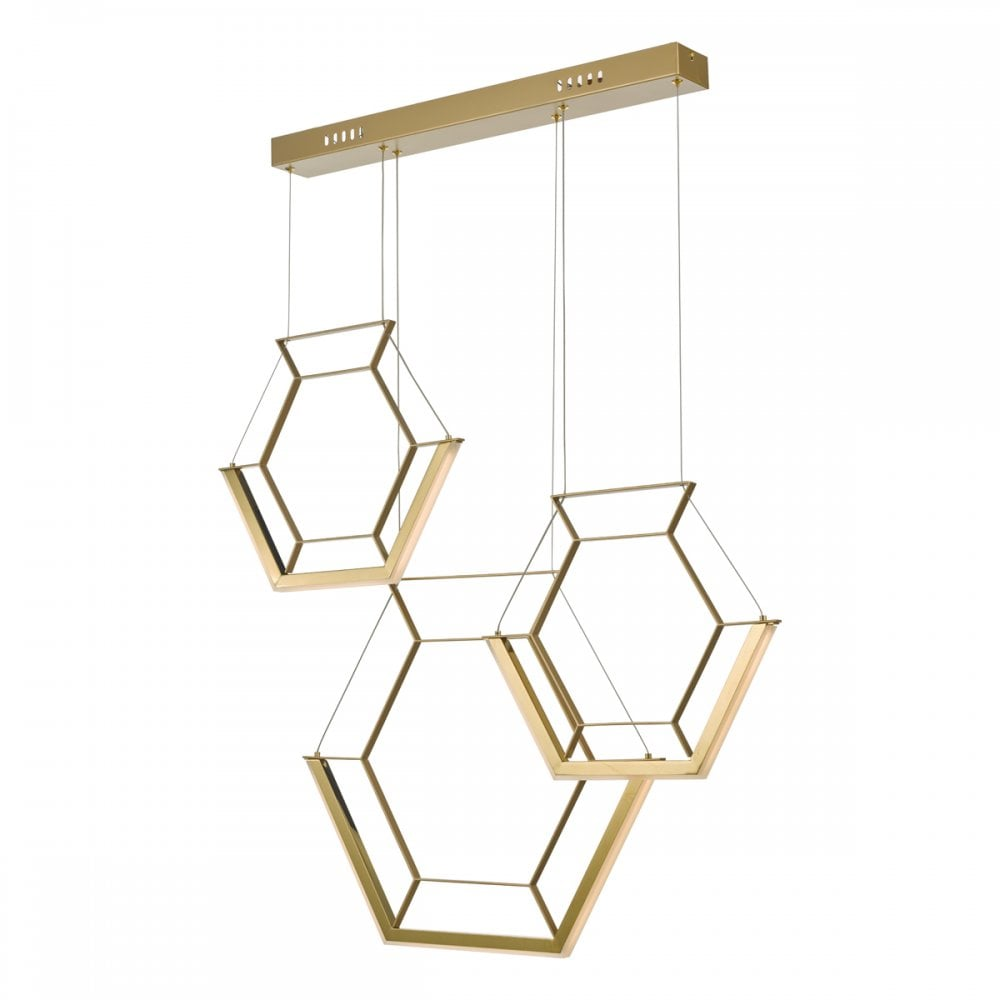 Gold LED Hexagon 3 Light Ceiling Pendant Bar Light