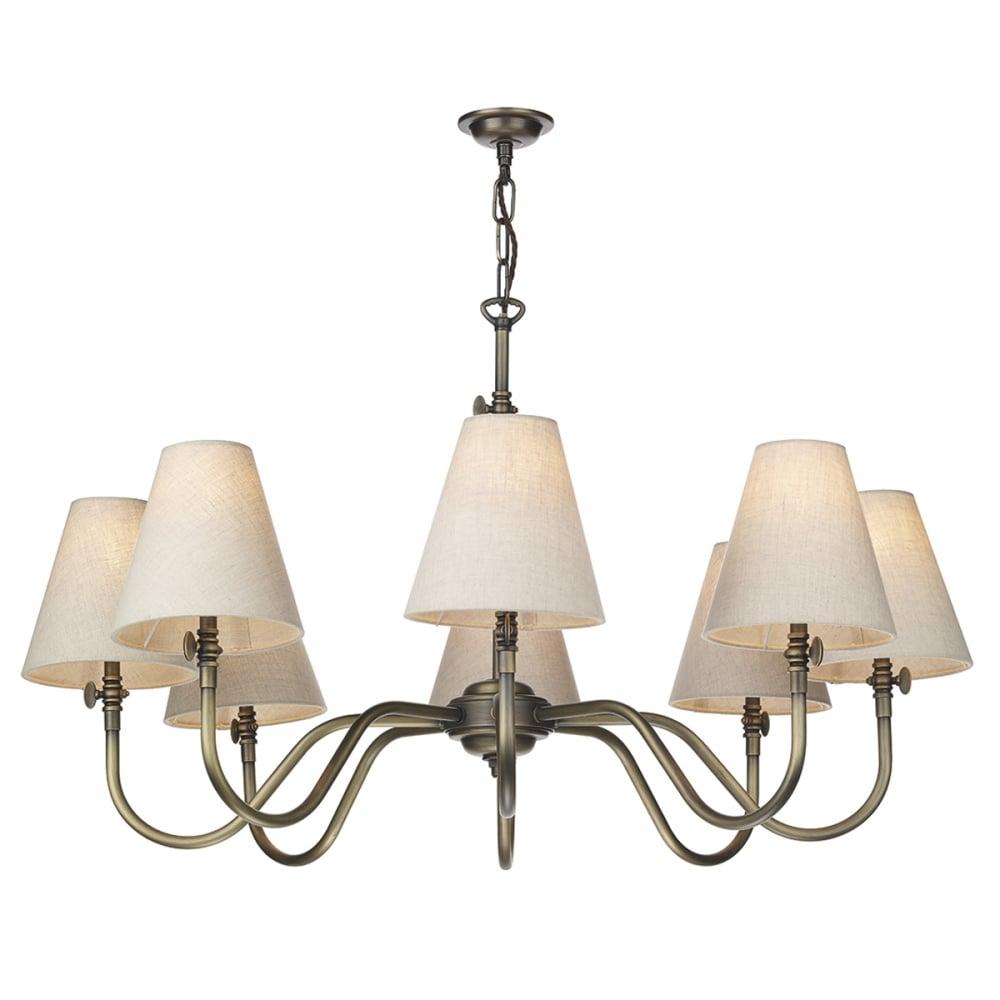 Antique brass 8 light ceiling pendant with linen shades british made antique brass 8 light ceiling pendant with linen shades aloadofball Images