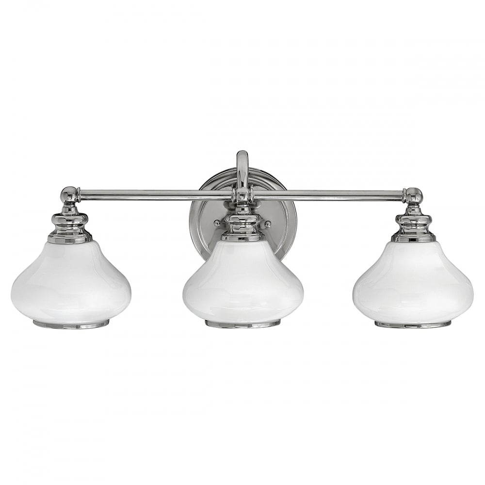 Three light chrome bathroom wall light with opal glasses chrome bathroom wall light with opal glasses aloadofball Images