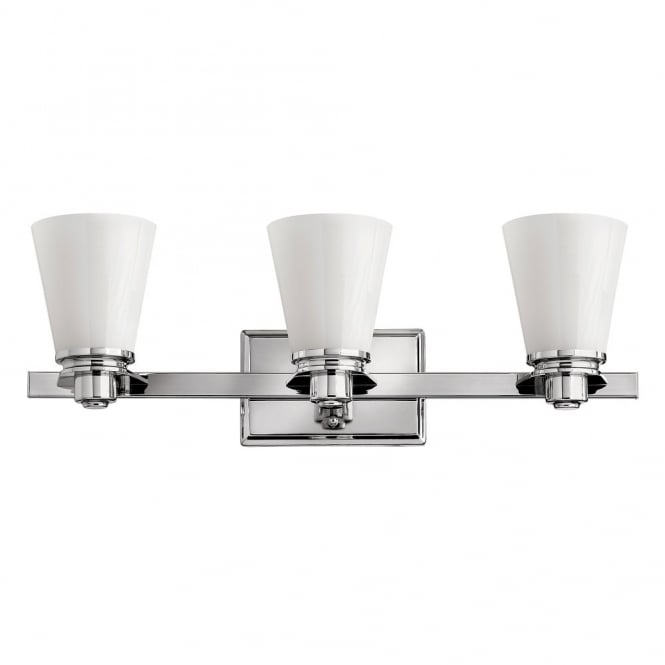 Hinkley Lighting AVON classic Art Deco inspired bathroom over mirror light in chrome with opal glass shades (3lt)