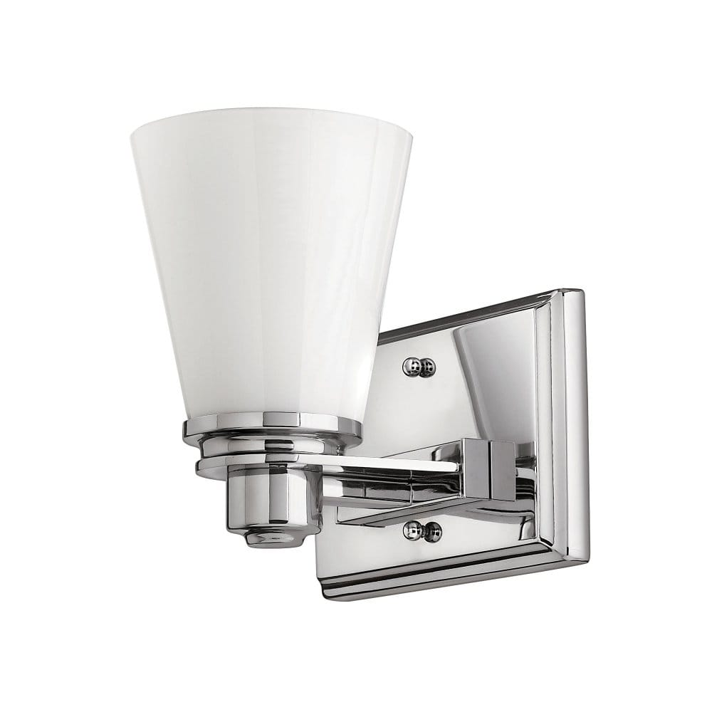 Classic art deco inspired wall light in chrome with opal - Art deco bathroom lighting fixtures ...