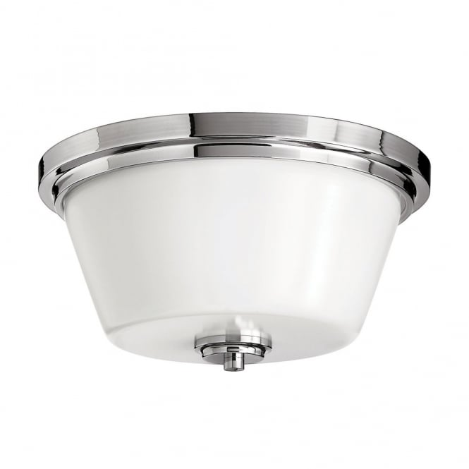 classic flush bathroom ceiling light in polished chrome with opal glass shade