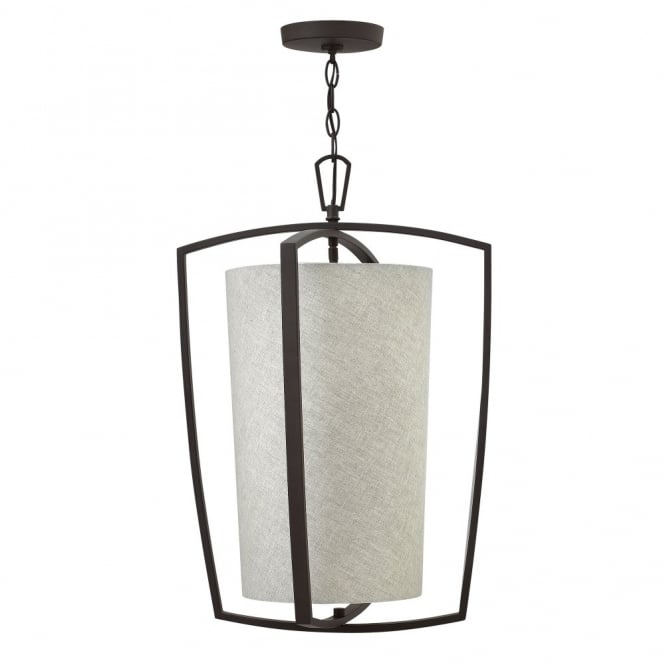 Hinkley Lighting BLAKELY contemporary ceiling pendant with bronze outer frame & fabric drum shade (large)