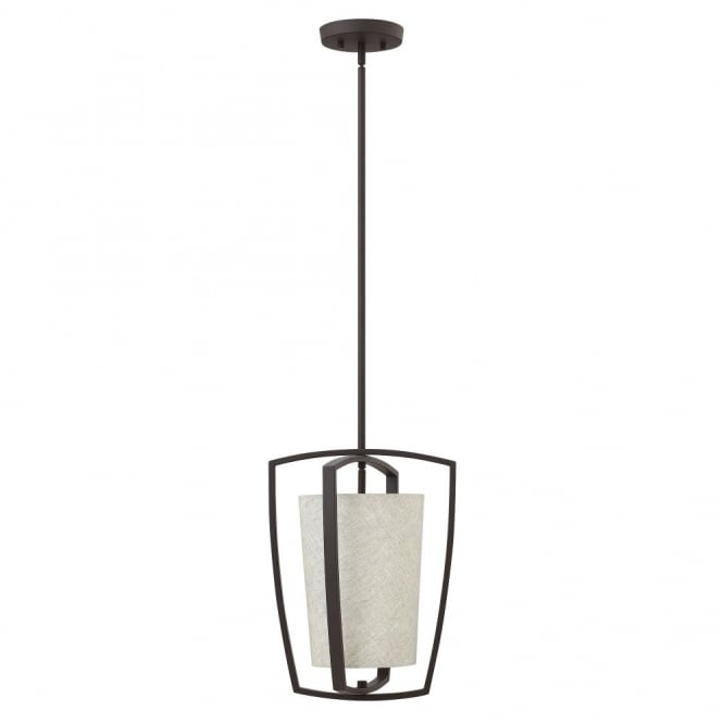Hinkley Lighting BLAKELY contemporary ceiling pendant with bronze outer frame & fabric drum shade (small)