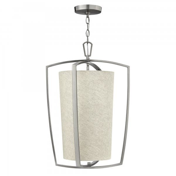 3 Light Led Ceiling Pendant Brushed Nickel Contemporary: Contemporary Brushed Nickel Frame Ceiling Pendant With
