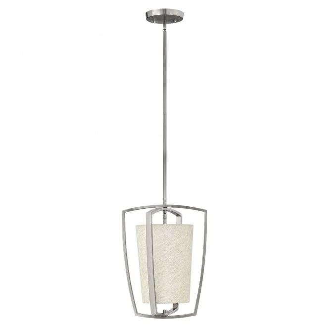 Hinkley Lighting BLAKELY contemporary ceiling pendant with brushed nickel outer frame & fabric drum shade (small)