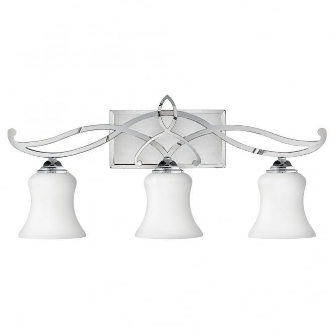 Hinkley Lighting BROOKE modern traditional decorative bathroom over mirror light in chrome with opal glass shades (3lt)