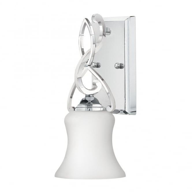 Hinkley Lighting BROOKE modern traditional decorative bathroom wall light in chrome with opal glass shade