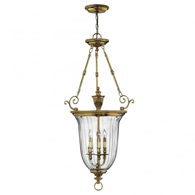 CAMBRIDGE classic decorative ceiling pendant in burnushed brass with clear optic glass (large)