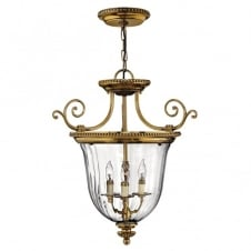 CAMBRIDGE classic decorative ceiling pendant in burnushed brass with clear optic glass (small)