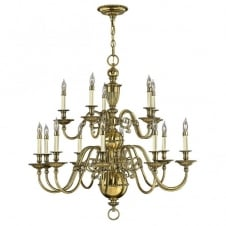 CAMBRIDGE classic traditional 15lt chandelier in burnished brass